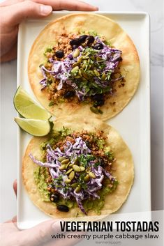 Cauliflower and walnuts are the base for these flavor-packed vegetarian tostadas. The creamy purple cabbage slaw and other toppings really take the satisfaction factor over the top! Tostada Recipes, Veggie Recipes, Mexican Food Recipes, Vegetarian Recipes, Healthy Recipes, Ethnic Recipes, Vegan Meals, Beef Recipes, Healthy Food