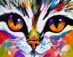 Easy Acrylic Painting Cat in colorful colors.