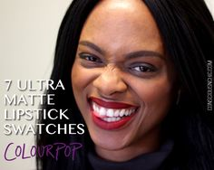 7 Colourpop Ultra Matte Swatches #colourpop #darkskin