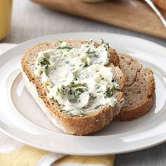 Garlic Basil Butter Recipe -Instead of serving plain butter alongside an assortment of fresh breads, prepare this herb-laden whipped butter. —Taste of Home Test Kitchen Spiced Butter Recipe, Basil Butter Recipe, Flavored Butter, Pesto Recipe, Taste Of Home, Fondue, Fresh Basil Recipes, Whipped Butter, Herb Butter