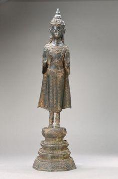 Standing Buddha Statue, Buddhism, Pedestal, Laos, It Cast, Beautiful, Auction