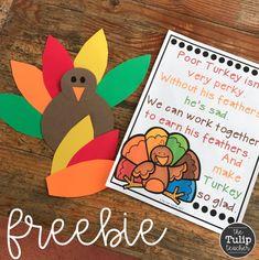 Free Thanksgiving Behavior Managment Sign {Turkey Poem}