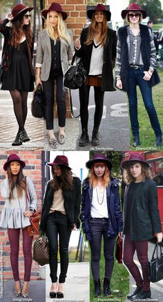 12fall | Blue is in Fashion this Year: Inspiration / How To Wear: Burgundy Fedora Hat