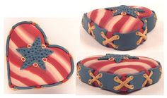 """""""I love America"""" DestinyDesigns-2008. This is a polymer clay heart that measures 1.5""""x1.5"""". It is entirely crafted of polymer clay. No paints or any other medium incorporated into it."""