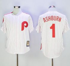 Mitchell And Ness Phillies  1 Richie Ashburn White Strip Throwback Stitched  MLB Jersey White Strips b42caaa45