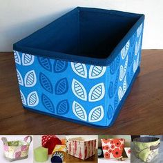 Fabric storage bins tutorials. Finding fabric to match my rooms is much easier than finding bins.