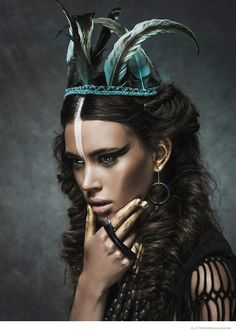 Tribal chic fashion editorial - Makeup: Alexandru Abagiu / Hair: Sorin Stratulat