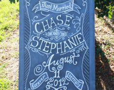 Chalkboard Art Sign for your Wedding or Event Unframed 24 x 36