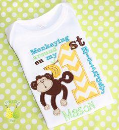 MONKEY ing around on 1st first banana Birthday by PolkaDotPair, $26.00
