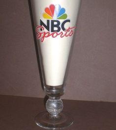 Vintage NBC SPORTS Beer Glass Peacock Logo Pilsner Basketball Pedestal NBA NCAA