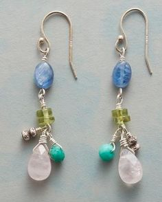 MAMBO EARRINGS -- Colorful kyanite, peridot, chrysoprase and rose quartz gemstones dance on these sparkling earrings. Exclusive, handmade in USA. Glass Earrings, Gemstone Earrings, Dangle Earrings, Silver Earrings, Jewelry Gifts, Unique Jewelry, Jewelry Ideas, Wire Jewelry Making, Earring Crafts