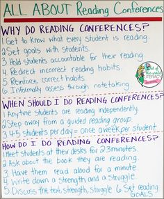 Tips and strategies for implementing reading conferences.