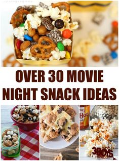 Over 30 Movie Night Snack Ideas These Movie Night Snack Ideas are perfect for the family movie nights we try to have a couple of times a month. Each time, we choose a family-friendly film, have a fun snack, and enjoy! Girls Night Snacks, Game Night Snacks, Snacks Für Party, Girls Night Appetizers, Movie Night For Kids, Family Movie Night, Night Couple, Family Movies, Snacks To Make