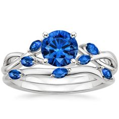 18K White Gold Sapphire Willow Matched Set With Sapphire Accents from Brilliant Earth #sapphirejewelry