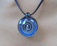 Blue Hand blown glass pendant necklace  by YishaiDrorGlassArt