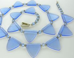 Antique Translucent Light Blue Czech Trade Triangle Glass Beads Necklace