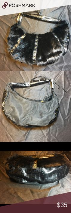 """Elegant Faux fur & leatherette purse with stud BLACK / BROWN EACH SOLD SEPARATE OR AS PAIR!! Brass studs & large """"0"""" ring with well braided handle. One side with Elegant faux fur only! Bags"""