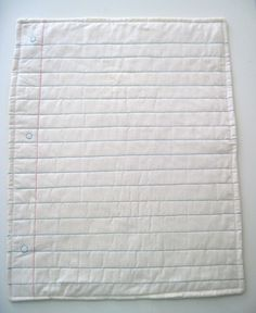 Notebook paper quilt - would be neat to embroider something on it too Textiles, Sewing Crafts, Sewing Projects, Quilting Projects, Learn To Sew, How To Make, Paper Quilt, Quilt Modernen, Notebook Paper