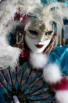girl-like-that: Portrait of a lady in blue at the 2008 Carnivale in Venice (by Frank Kovalchek)