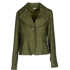 Liu •jo Jeans Blazer ($100) ❤ liked on Polyvore featuring outerwear, jackets, blazers, green, multi pocket jacket, blazer jacket, tweed blazer, tweed jacket and collar jacket