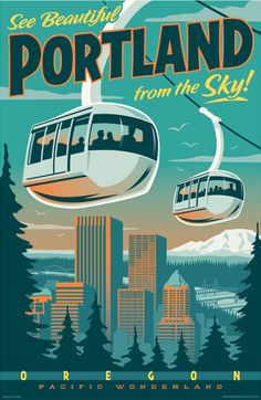 Vintage Style Portland Tram Travel Poster  by RedRobotCreative