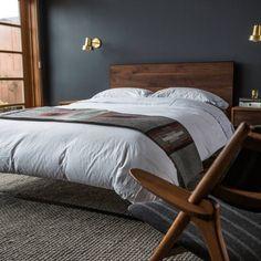 Room redo: Dark masculine bedroom look with slate walls Bedroom Colors, Diy Bedroom Decor, Bedroom Wall, Home Decor, Bedroom Ideas, Men Bedroom, Modern Bedroom Design, Contemporary Bedroom, Bachelor Room