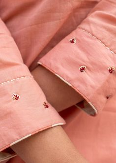 Shop embroidered salmon pink straight kurta and pant set Online. Get amazing Offers from JOVI Fashion. Embroidery On Kurtis, Hand Embroidery Dress, Kurti Embroidery Design, Embroidery On Clothes, Flower Embroidery Designs, Embroidery Fashion, Hand Embroidery Videos, Kurta Designs Women, Kurti Neck Designs