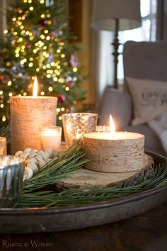 Birch candles and pine spray coffee table Christmas decor
