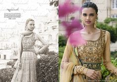 Top In Beige Net with All Over Embroidery Beige Lycra Jersey In Sleeves. Lace At Yoke Give Perfect Antithesis Look Of Top, Adding Beige Net At Kalis With All Over Embroidery. Bottle Green Border At Shaded Net Duppata.