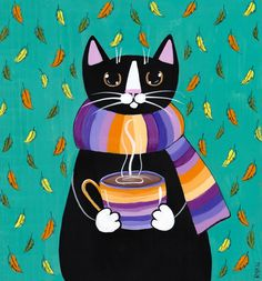 18 Reason Why Cats Talking To You So Much – MEOW Autumn Coffee Cat Original Folk Art Painting by KilkennycatArt (Ryan Conners) I Love Cats, Crazy Cats, Cute Cats, Illustrations, Illustration Art, Frida Art, Image Chat, Here Kitty Kitty, Cat Drawing