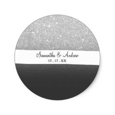 Modern faux silver glitter ombre grey black block classic round sticker - faux gifts style sample design cyo
