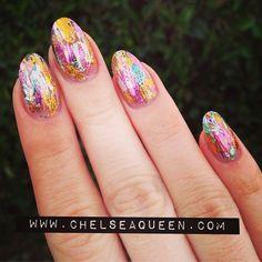 chelseaqueen goes colorfoil. awesome nail art #nail #unhas #unha #nails #unhasdecoradas #nailart #gorgeous #fashion #stylish #lindo #cool #cute #fofo #colorido #colorful