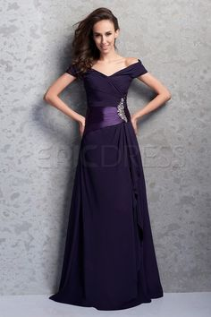Charming Ruffles Pleats Beaded A-line Off-the-Shoulder Floor-Length Renata's Mother of the Bride Dress 1