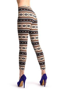 Beige Black  Brown Aztec Jacquard Knit Print  Leggings -- You can get more details by clicking on the image. (This is an affiliate link) #WomensSocksandHosiery