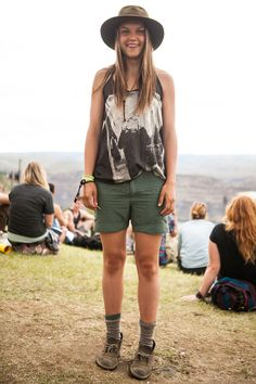 Sasquatchs Stylish Show-Goers Flaunt Serious Festival Fashion.  where are her shorts and shoes from??!?!?