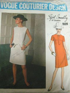 Vtg Vogue 1928 Sybil Connolly Dress Couturier Design Sewing Pattern Sz 14 36 | eBay