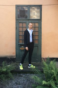 Exploring Stockholm (menswear, men, style, male, fashion, autumn, blue, oversized, striped, shirt, white, top, black, trousers, topman, cos, adidas, trainers, sneakers, neon)