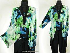 LAGENLOOK Tunika Long-Shirt Digital-Bogen Überwurf