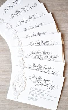 The Romantic Amelia Lace Wedding Invitations with Glitter Ink Thermography From @engagingpapers. #luxury invitation #unique #couture