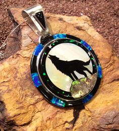Native American Jewelry Sterling Silver Micro Inlaid Wolf