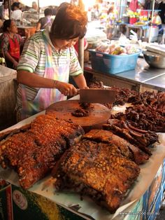Trang roast pork, a specialty, sweet with a crispy crunchy skin. Southern Thailand