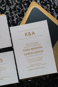 AARON Suite Romantic Package, modern minimalist wedding invitation, black and gold, simple wedding invitation design. Available in flat printing, letterpress, and foil stamping.