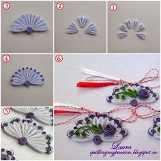 quilling my passion: martisoare evantai - Quilling Paper Crafts Neli Quilling, Quilling Videos, Paper Quilling Designs, Quilling Paper Craft, Quilling Techniques, Quilling Patterns, Paper Crafts, Quilling Flowers Tutorial, Quilling Instructions