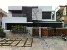 1 Kanal Contemporary Residence by Adil Yusuf + Associates 2 Storey House Design, Duplex Design, Bungalow House Design, Modern Exterior House Designs, Modern House Design, Exterior Design, House Outside Design, House Front Design, Contemporary Architecture