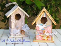 DIY Shabby Chic and Whimsical Birdhouses Mod Podged with pretty papers. {ribbonsandglue.com}