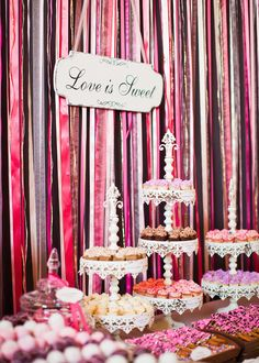 Love is Sweet ~ Beautiful cupcake stands! From @Dessert & Wedding Darling s wedding on Style Me Pretty. Click on the pic for the whole gorgeous SMP gallery! Photography by katewebber.com