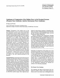 Syndromes of compression of the median nerve in the proximal forearm (pronator teres syndrome; anterior interosseous nerve syndrome) - Springer