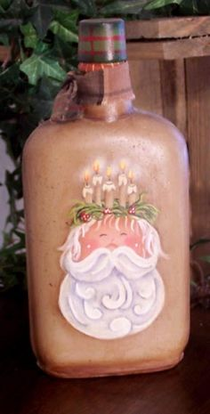 Santa and Candles Bottle with tutorial and free pattern