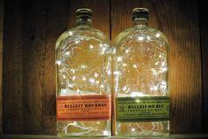 Bulleit Lighted Bottle | Looking Sharp Cactus – Looking Sharp Cactus LLC Bottle Fairy Lights, Liquor Bottle Lights, Bottle Candles, Wine Bottle Labels, Liquor Bottles, Glass Bottles, Bottle Lamps, Kitchen Soap Dispenser, Soap Dispensers