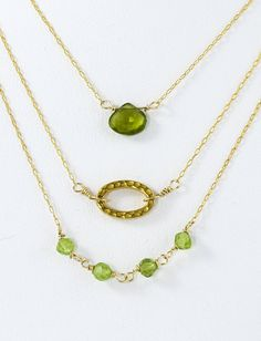 FREE SHIPPING!50% off!Layering Necklaces, Peridot Necklace, Birthstone Necklace, Gold Necklace,  Set Of 3, August  Birthstone